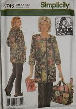 Simplicity 4746 Sewing Pattern Patty Reed Hobby Coat, Pants and Tote Sz Xs S M
