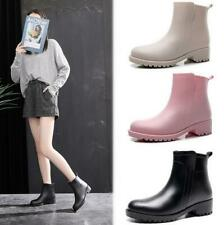 Womens Ladies Chelsea Slip On Ankle Rain Boots Waterproof Outdoors No-Slip Shoes
