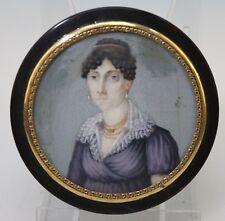 Biedermeier Dame Portrait Lupenmalerei Rahmen 750er Gold - 16366 -