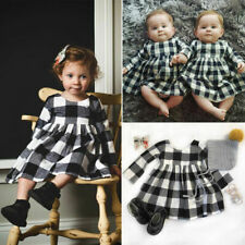 Toddler Baby Kids Girls Pageant Plaid Cute Dresses Princess Party Dress Clothes