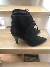 Uterqüe Black Leather Boots 41