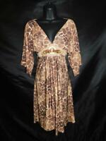 Vintage Boston Proper S Brown Giraffe Animal Print Dress Empire V Neck Stretch