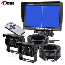 "7"" Monitor Split 2 Screen Reversing 2 Camera IR CCD 4PIN Kit For Truck Caravan"