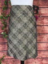 The Limited Skirt size 10 Gold Bronze Plaid Bias KneeStraight Evening Wedding