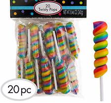 Rainbow Twisty Pop x 20 Multi Fruit Flavour Party Favors Candy Buffet Bulk Lolly