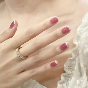 False Press On nails Pink with French White Tips Detachable Artificial Fake Nail