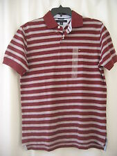 NWT Mens Tommy Hilfiger Dark Red/Gray Striped Cotton Short-Sleeve Polo Shirt M