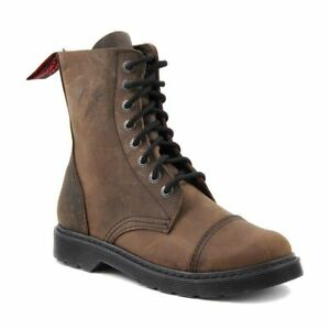 Angry Itch 8 Hole Punk Vintage Vintage Brown Leather Army Ranger Boot Light Sole