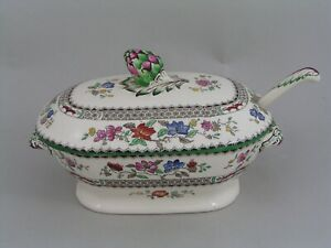 SPODE CHINESE ROSE BABY SAUCE TUREEN AND LADLE.