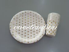 ♛ Shop8 :  GOLD STAMPING POLKA DOT PAPER CUPS PLATES 10pcs Birthday Party Needs