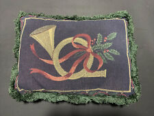 """Pillow Holiday Horn & Holly Design.  17"""" X 12"""". Used"""