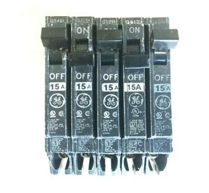 Lot 5 GE THQP115, 1 pole, 15 Amps circuit breaker - FREE SHIPPING