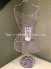 """Rustic 18"""" Metal Dress Form Jewelry Necklace Earring Hanger Candle Holder Stand"""