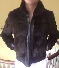Brown Leather Rabbit or Mink Fur Jacket by Tryst New York size XL Neiman Marcus