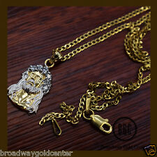 Face of Jesus Christ Pendant & Cuban Link Chain Solid 14k Yellow Gold ON SALE!!!