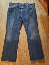 MEK Denim Mens 42x34 Cody Straight Leg Jeans Pants Button Fly Embroidered