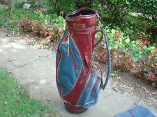 "Titleist 8"" 1970's Leather and Canvas Staff Golf Bag w Rain Hood"