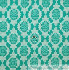 BonEful Fabric Cotton Quilt VTG Aqua Teal White Skull Skeleton Flower Rose SCRAP