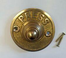 Solid Brass PRESS Antique Victorian Style Retro Round Bell Push Door Button