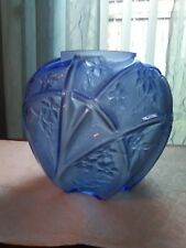 Phoenix Consolidated Fairy Martele Glass Blue Vase Art Deco 700 Line