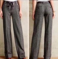Anthropologie Elevenses Herringbone Wide Leg Trousers Pants Size 2