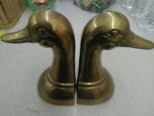 Mid-Century 1960s Pair of Solid Brass Duck Bookends. Made in Korea Vintage Charm