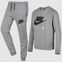 Nike Air Mens Sweatshirt Crewneck Full Fleece Tracksuit Top and Bottom  Grey