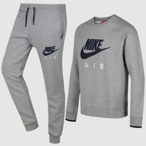 Nike Air Mens Sweatshirt Crewneck Full Fleece Tracksuit Top and Bottom  Grey