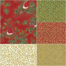 Fabric Freedom 100% Cotton 'Christmas Robin' Festive Craft & Fashion Material
