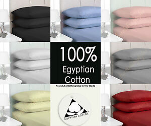 LUXURY 100% EGYPTIAN COTTON FITTED SHEETS T200 PERCALE COUNT SINGLE DOUBLE KING