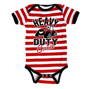 "Case IH ""Heavy Duty Cutie"" Red & White Stripe Infant Creeper - NB, & 12M"