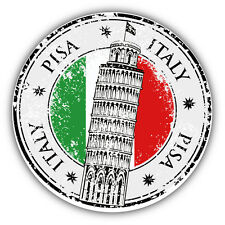 "Pisa City Italy Flag Grunge Travel Stamp Car Bumper Sticker Decal 5"" x 5"""