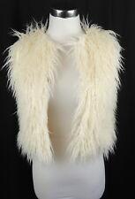 GUIFEIYICHU Faux Mongolian Fur Vest Fits XS OPen Front Trendy Sexy Fun White NEW