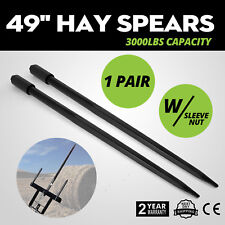 Two 49 3000 lbs Hay Spears Nut Bale Spike Fork Sleeve included Conus 1 3/4 Wide
