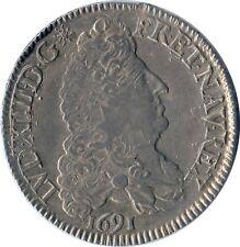 1/2 ECU  LOUIS XIV AUX 8 L, 1691 Argent TTB/SUP