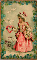 My Hearts Best Gift • Young lady aristocrat flower 1908 Vintage Postcard AA-004