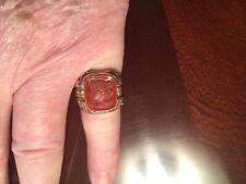 Mens Ring, Carnelian Intaglio Cameo, 10K Yellow Gold