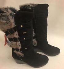 BNWT Mammal Ladies size 7.5 Black Suede OC anti-slip Long Buckle Fur Wedge Boots