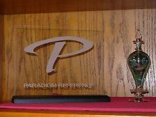 PARADIGM REFERENCE ETCHED GLASS SIGN W/BLACK OAK BASE