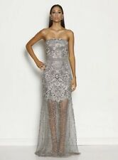 Grace & Hart Silver Lace Strapless Ball Gown 8