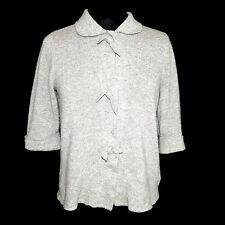 J. Crew 100% Cashmere Gray Cardigan Pretty Bow 3/4 Sleeve Sweater sz Small /6274