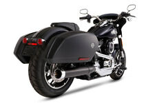 """Rinehart 4"""" Slip-On Exhaust System Black Chrome End Cap Harley Sport Glide 2018+"""