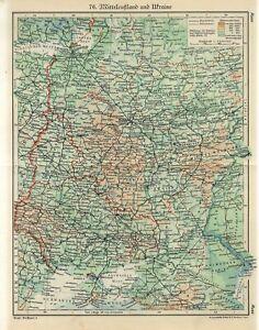 1920s CENTRAL RUSSIA and UKRAINE KIEV KHARKOV MOSCOW BELARUS MINSK Antique Map