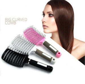 Barber Anti Static Hairdressing Salon Curved Hair Rows Tine Vent Comb-Brush-Tool