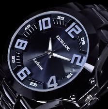 Excellanc Armband Herren Uhr Schwarz Metall im Keramik Look Schwere Ausführung A