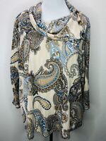NWT Ruby Rd. 2X Stretchy Tan Blue Paisley 3/4 Sleeve Knit Top Plus Size