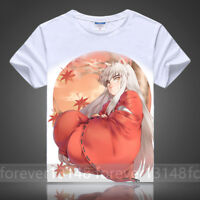 Summer Anime InuYasha Pullover Cosplay Unisex White T-shirt Short Sleeve TEE Top