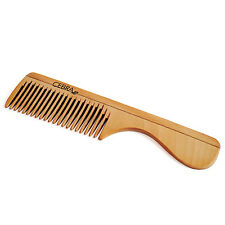 Cebra Natural Pear Wood Handle Pocket Comb, Anti-Static Narrow Teeth Short Hair