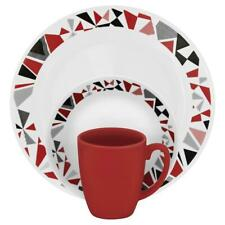 Corelle Glass Dinnerware Set Lightweight Stackable Mosaic Red Round 16 Piece New