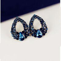 1 Paar Neu Mode wunderschöne Schöne Diamant Saphir H9U0 Ohrringe neue`